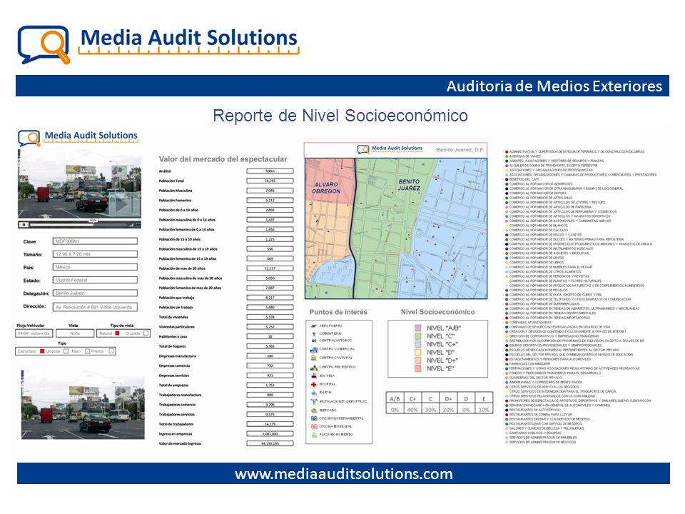 www.mediaauditsolutions.com Auditoria de Medios Exteriores Reporte de Nivel Socioeconómico