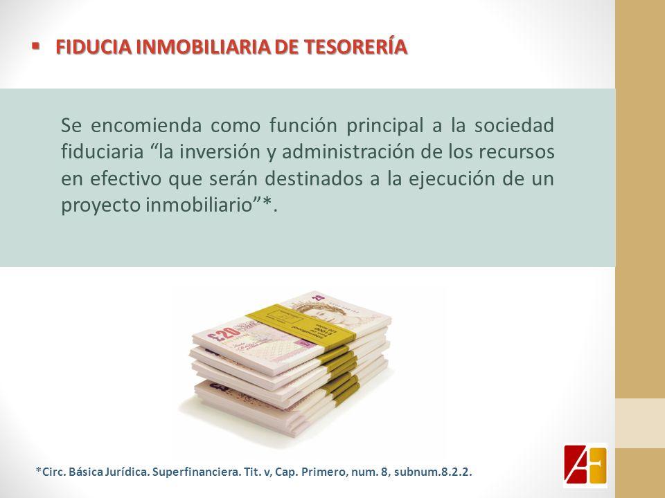 FIDUCIA INMOBILIARIA DE TESORERÍA FIDUCIA INMOBILIARIA DE TESORERÍA Se encomienda como función principal a la sociedad fiduciaria la inversión y admin
