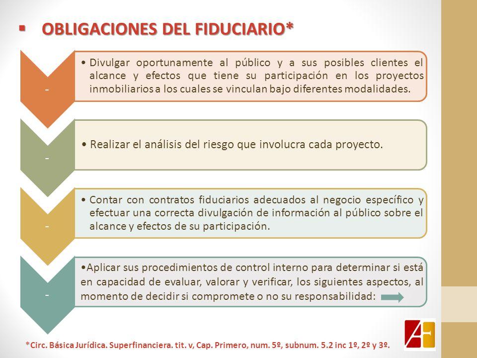 OBLIGACIONES DEL FIDUCIARIO* OBLIGACIONES DEL FIDUCIARIO* - Divulgar oportunamente al público y a sus posibles clientes el alcance y efectos que tiene
