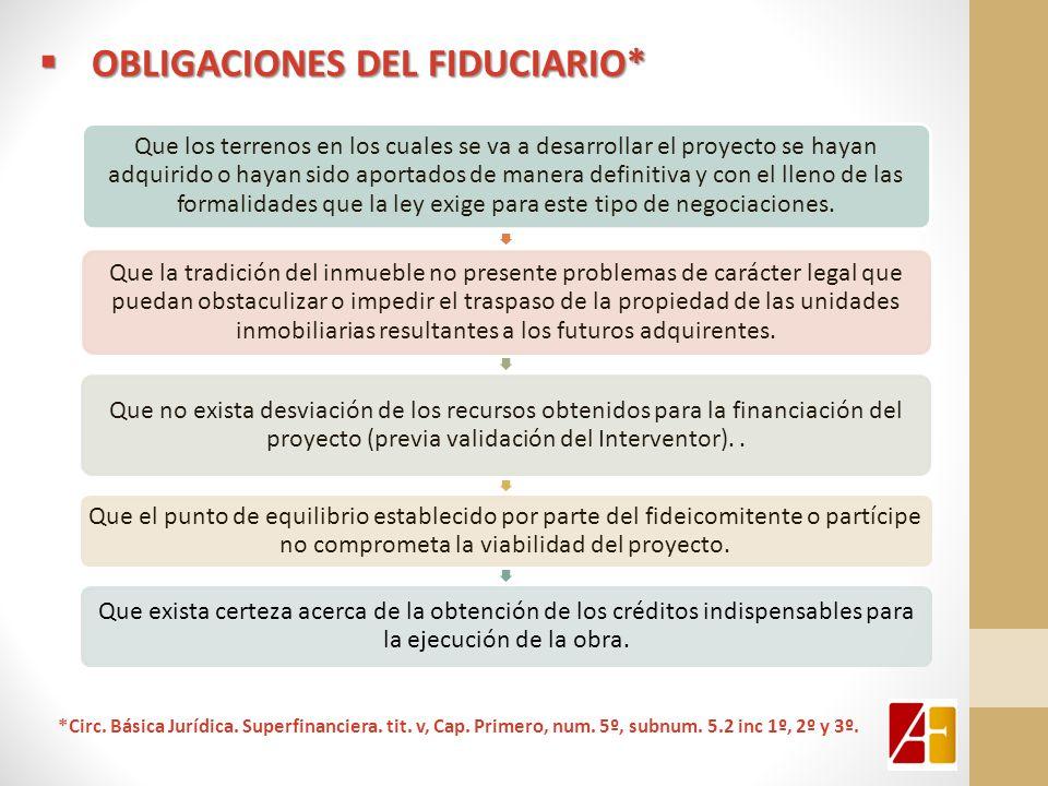 OBLIGACIONES DEL FIDUCIARIO* OBLIGACIONES DEL FIDUCIARIO* Que los terrenos en los cuales se va a desarrollar el proyecto se hayan adquirido o hayan si