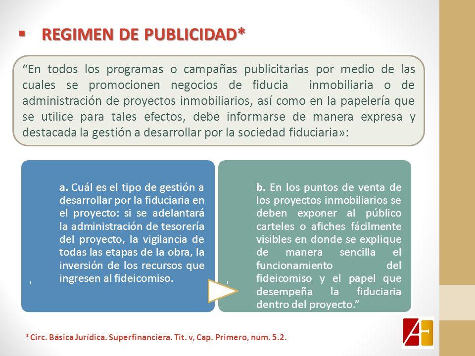 REGIMEN DE PUBLICIDAD* REGIMEN DE PUBLICIDAD* En todos los programas o campañas publicitarias por medio de las cuales se promocionen negocios de fiduc