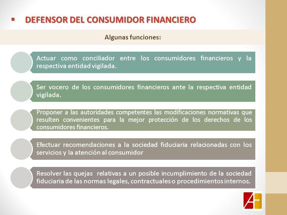 Actuar como conciliador entre los consumidores financieros y la respectiva entidad vigilada. Ser vocero de los consumidores financieros ante la respec