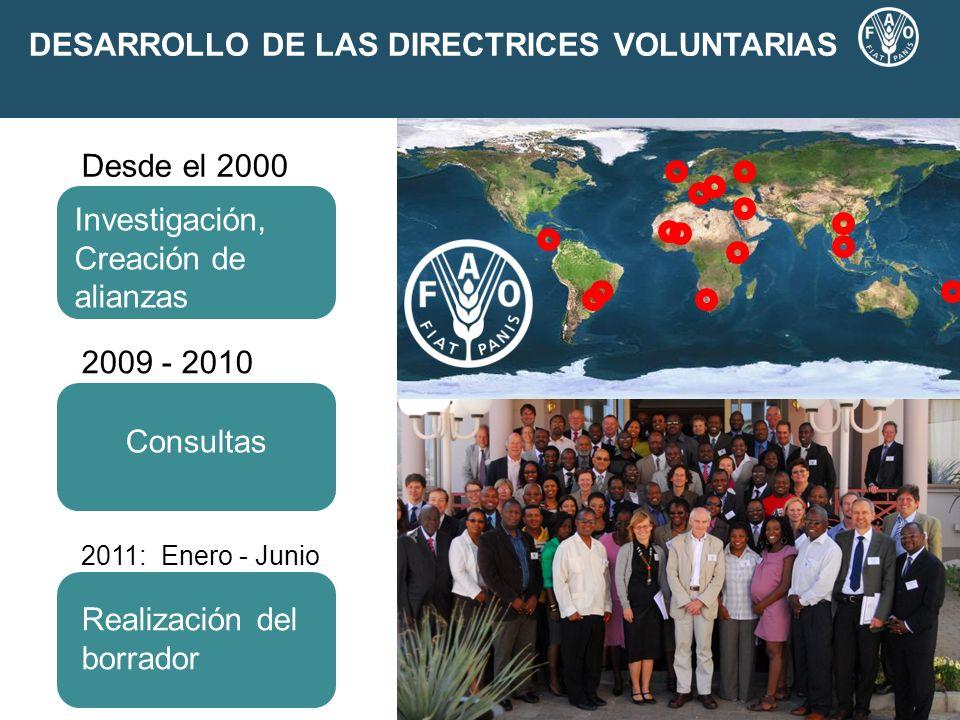 DESARROLLO DE LAS DIRECTRICES VOLUNTARIAS 2009 - 2010 2011: Enero - Junio Negotiations Consultas Realización del borrador Investigación, Creación de a