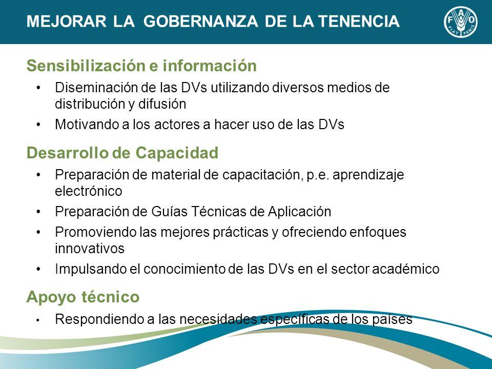Sensibilización e información Diseminación de las DVs utilizando diversos medios de distribución y difusión Motivando a los actores a hacer uso de las