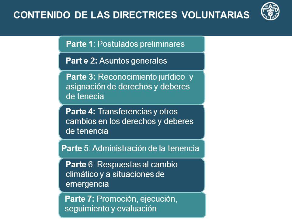 CONTENIDO DE LAS DIRECTRICES VOLUNTARIAS Parte 7: Promoción, ejecución, seguimiento y evaluación Parte 6: Respuestas al cambio climático y a situacion