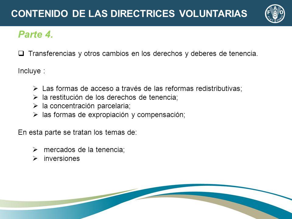 Parte 4. Transferencias y otros cambios en los derechos y deberes de tenencia. Incluye : Las formas de acceso a través de las reformas redistributivas