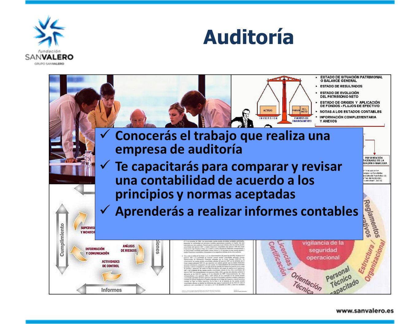 Auditoría Conocerás el trabajo que realiza una empresa de auditoría Te capacitarás para comparar y revisar una contabilidad de acuerdo a los principio