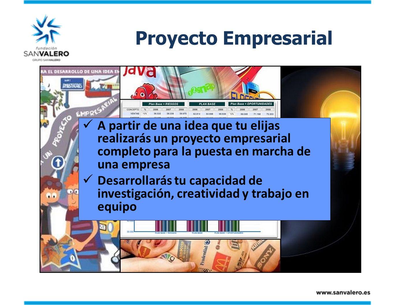 Proyecto Empresarial A partir de una idea que tu elijas realizarás un proyecto empresarial completo para la puesta en marcha de una empresa Desarrolla