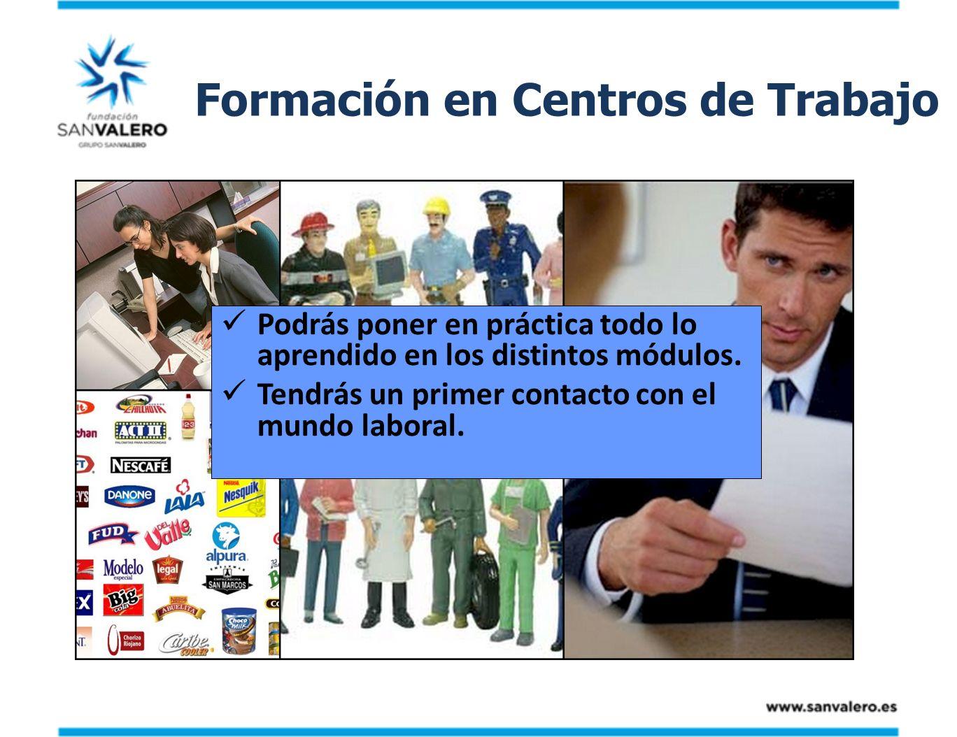 Formación en Centros de Trabajo Podrás poner en práctica todo lo aprendido en los distintos módulos. Tendrás un primer contacto con el mundo laboral.