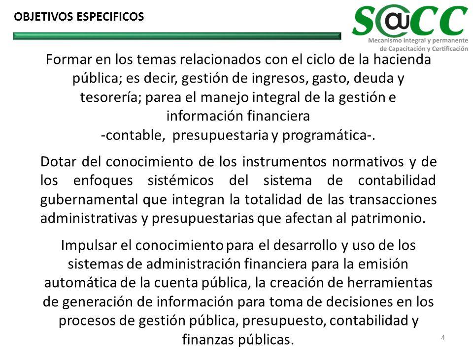 Formar en los temas relacionados con el ciclo de la hacienda pública; es decir, gestión de ingresos, gasto, deuda y tesorería; parea el manejo integral de la gestión e información financiera -contable, presupuestaria y programática-.