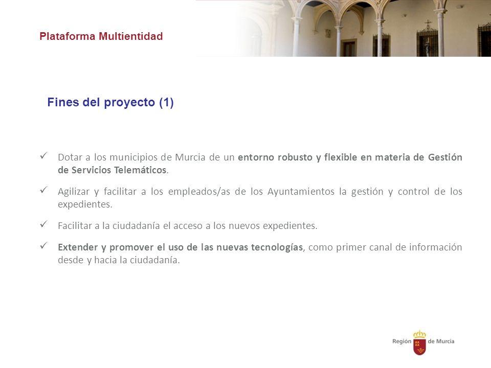 Plataforma Multientidad Fines del proyecto (1) Dotar a los municipios de Murcia de un entorno robusto y flexible en materia de Gestión de Servicios Telemáticos.