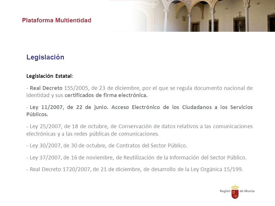 Plataforma Multientidad Legislación Legislación Estatal: - Real Decreto 155/2005, de 23 de diciembre, por el que se regula documento nacional de identidad y sus certificados de firma electrónica.