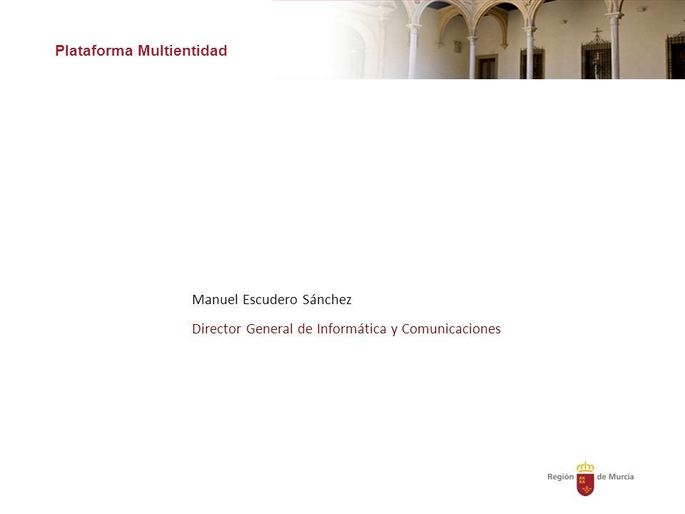 Plataforma Multientidad Manuel Escudero Sánchez Director General de Informática y Comunicaciones