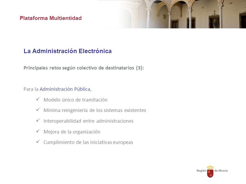 Plataforma Multientidad La Administración Electrónica Principales retos según colectivo de destinatarios (3): Para la Administración Pública, Modelo único de tramitación Mínima reingeniería de los sistemas existentes Interoperabilidad entre administraciones Mejora de la organización Cumplimiento de las iniciativas europeas