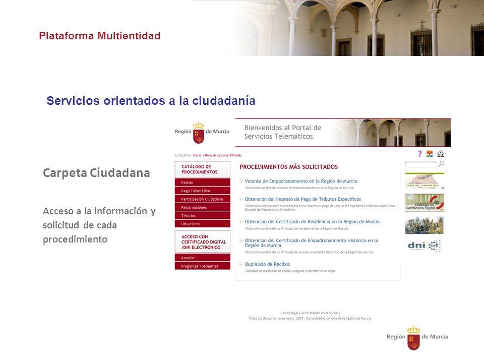 Plataforma Multientidad Servicios orientados a la ciudadanía Carpeta Ciudadana Acceso a la información y solicitud de cada procedimiento