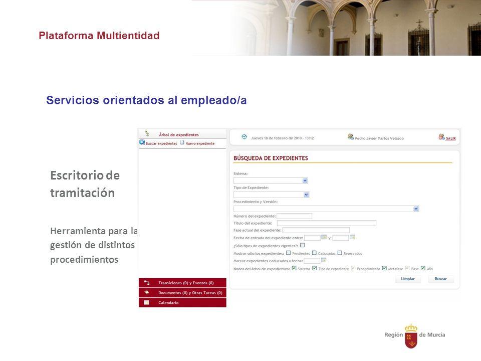 Plataforma Multientidad Servicios orientados al empleado/a Escritorio de tramitación Herramienta para la gestión de distintos procedimientos