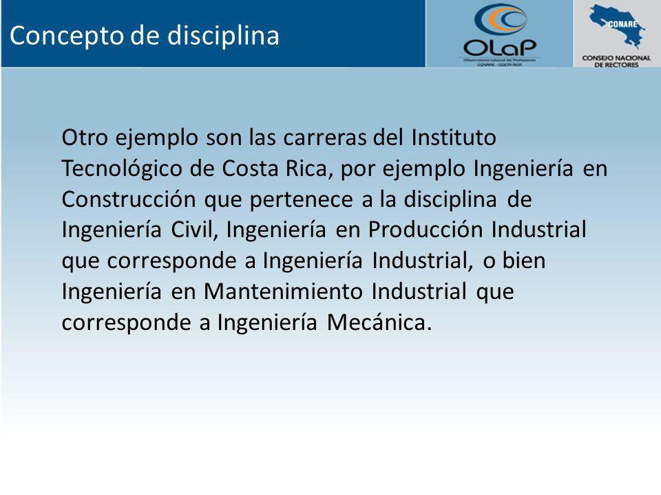 Otro ejemplo son las carreras del Instituto Tecnológico de Costa Rica, por ejemplo Ingeniería en Construcción que pertenece a la disciplina de Ingenie