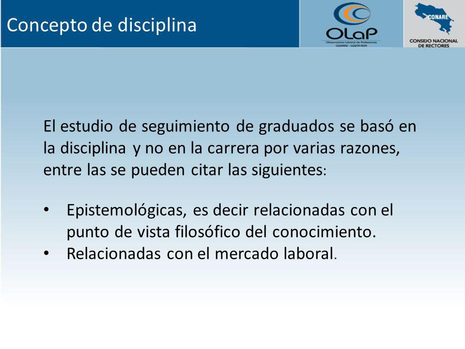 El estudio de seguimiento de graduados se basó en la disciplina y no en la carrera por varias razones, entre las se pueden citar las siguientes : Epis