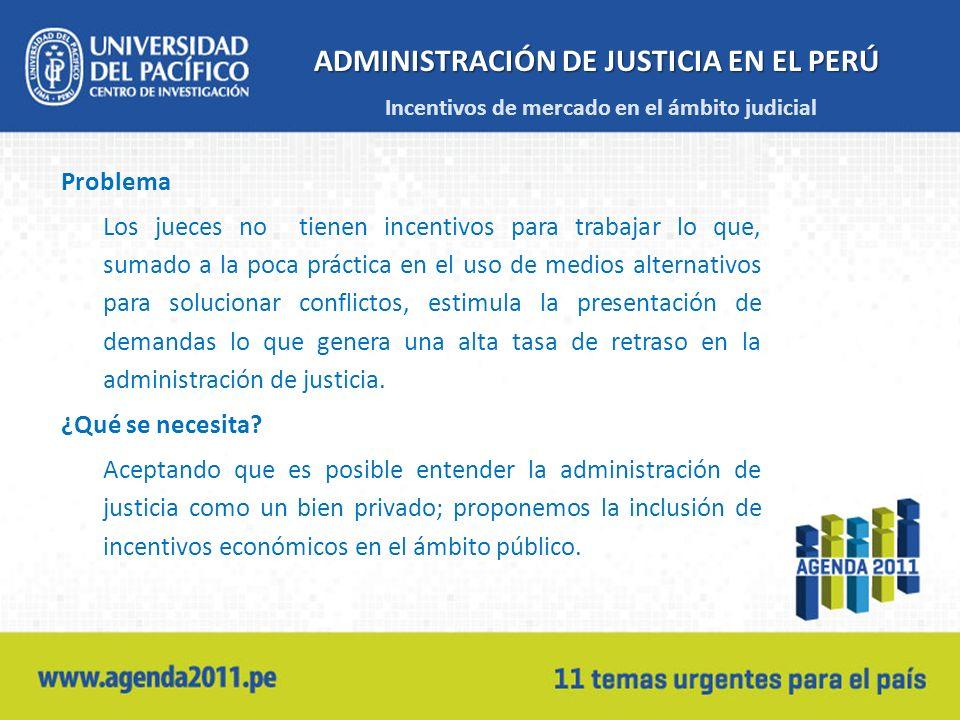 ADMINISTRACIÓN DE JUSTICIA EN EL PERÚ Problema Los jueces no tienen incentivos para trabajar lo que, sumado a la poca práctica en el uso de medios alt