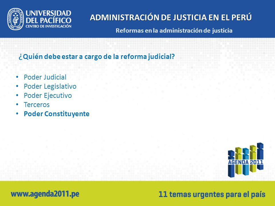 ADMINISTRACIÓN DE JUSTICIA EN EL PERÚ ¿ Quién debe estar a cargo de la reforma judicial? Poder Judicial Poder Legislativo Poder Ejecutivo Terceros Pod