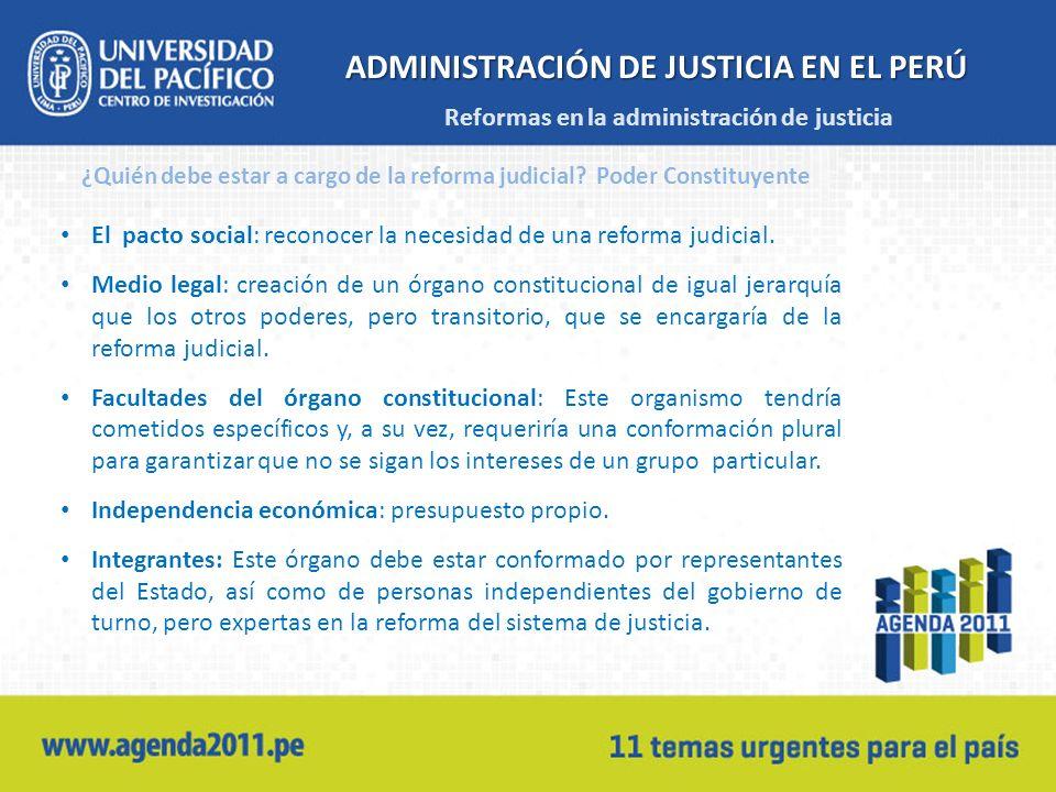 ADMINISTRACIÓN DE JUSTICIA EN EL PERÚ El pacto social: reconocer la necesidad de una reforma judicial. Medio legal: creación de un órgano constitucion