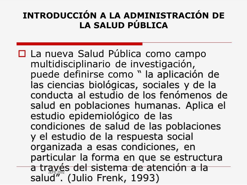 INTRODUCCIÓN A LA ADMINISTRACIÓN DE LA SALUD PÚBLICA la aplicación de las ciencias biológicas, sociales y de la conducta al estudio de los fenómenos de salud en poblaciones humanas.