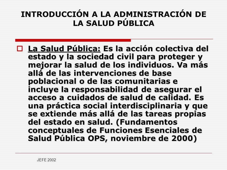 INTRODUCCIÓN A LA ADMINISTRACIÓN DE LA SALUD PÚBLICA La Salud Pública: Es la acción colectiva del estado y la sociedad civil para proteger y mejorar la salud de los individuos.