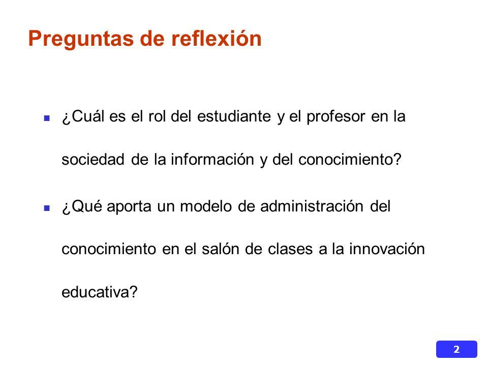 2 Preguntas de reflexión ¿Cuál es el rol del estudiante y el profesor en la sociedad de la información y del conocimiento.