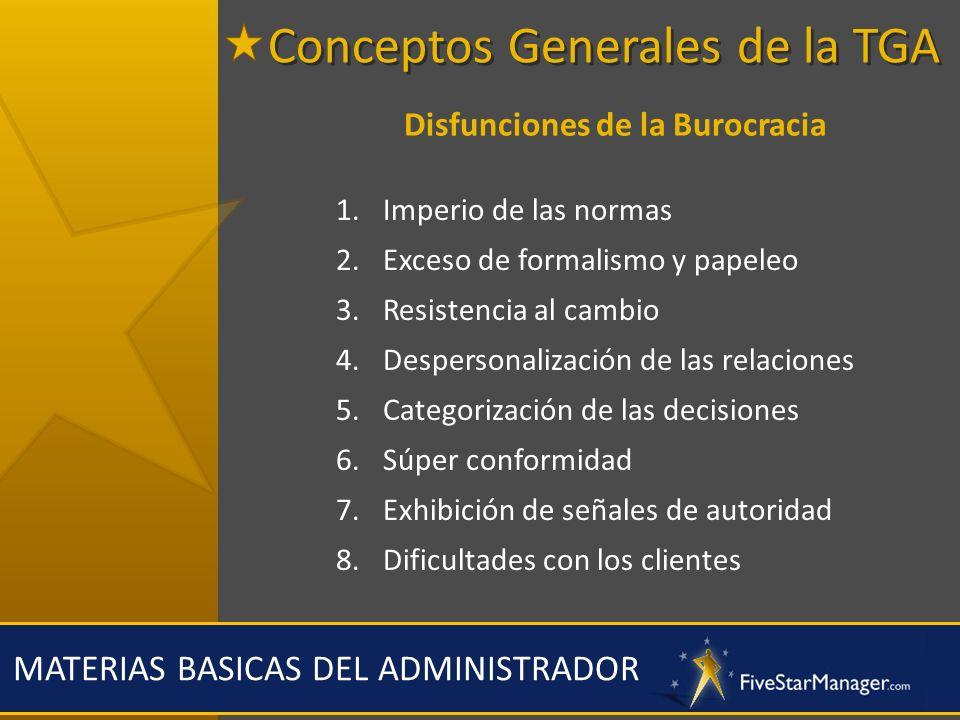 MATERIAS BASICAS DEL ADMINISTRADOR Disfunciones de la Burocracia 1.Imperio de las normas 2.Exceso de formalismo y papeleo 3.Resistencia al cambio 4.De
