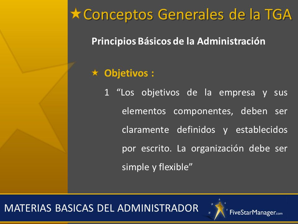 MATERIAS BASICAS DEL ADMINISTRADOR Principios Básicos de la Administración Objetivos : 1 Los objetivos de la empresa y sus elementos componentes, debe