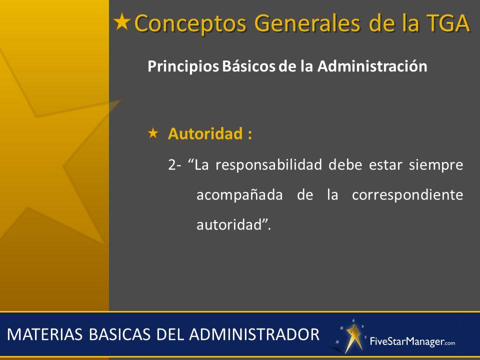 MATERIAS BASICAS DEL ADMINISTRADOR Principios Básicos de la Administración Autoridad : 2- La responsabilidad debe estar siempre acompañada de la corre