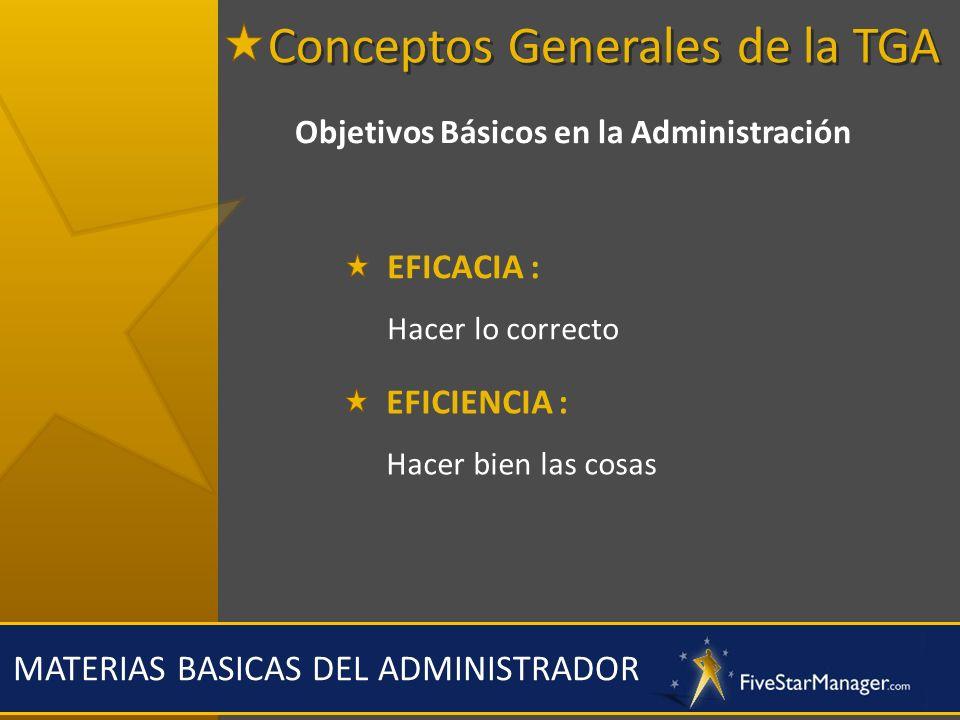 MATERIAS BASICAS DEL ADMINISTRADOR Objetivos Básicos en la Administración EFICACIA : Hacer lo correcto EFICIENCIA : Hacer bien las cosas Conceptos Gen