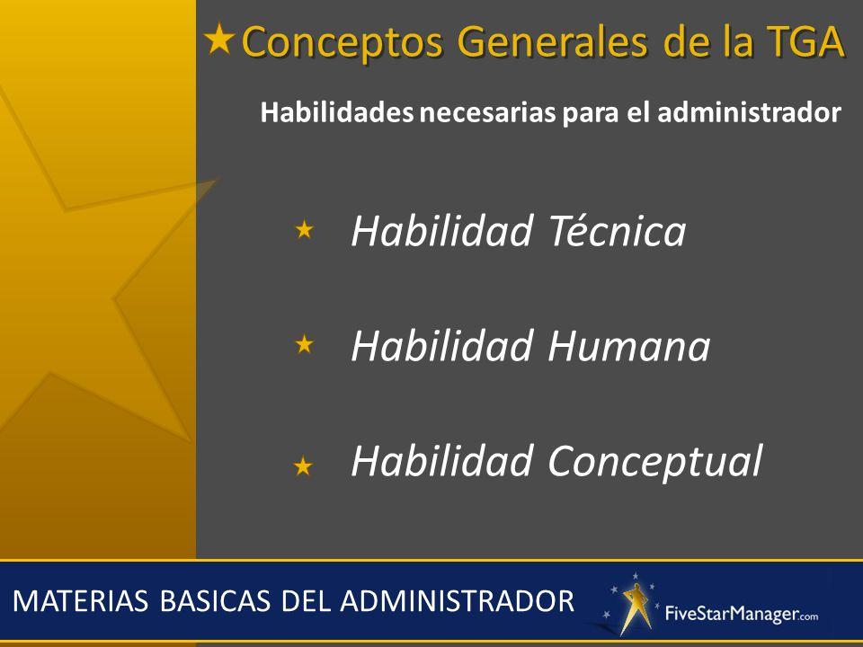 MATERIAS BASICAS DEL ADMINISTRADOR Habilidades necesarias para el administrador Habilidad Técnica Habilidad Humana Habilidad Conceptual Conceptos Gene