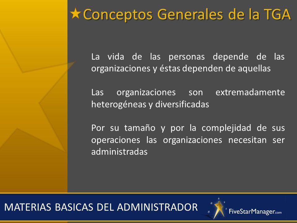 MATERIAS BASICAS DEL ADMINISTRADOR Palancas necesarias para el cambio estratégico Organización Personal Liderazgo Conocimiento RecompensasComunicaciones Conceptos Generales de la TGA