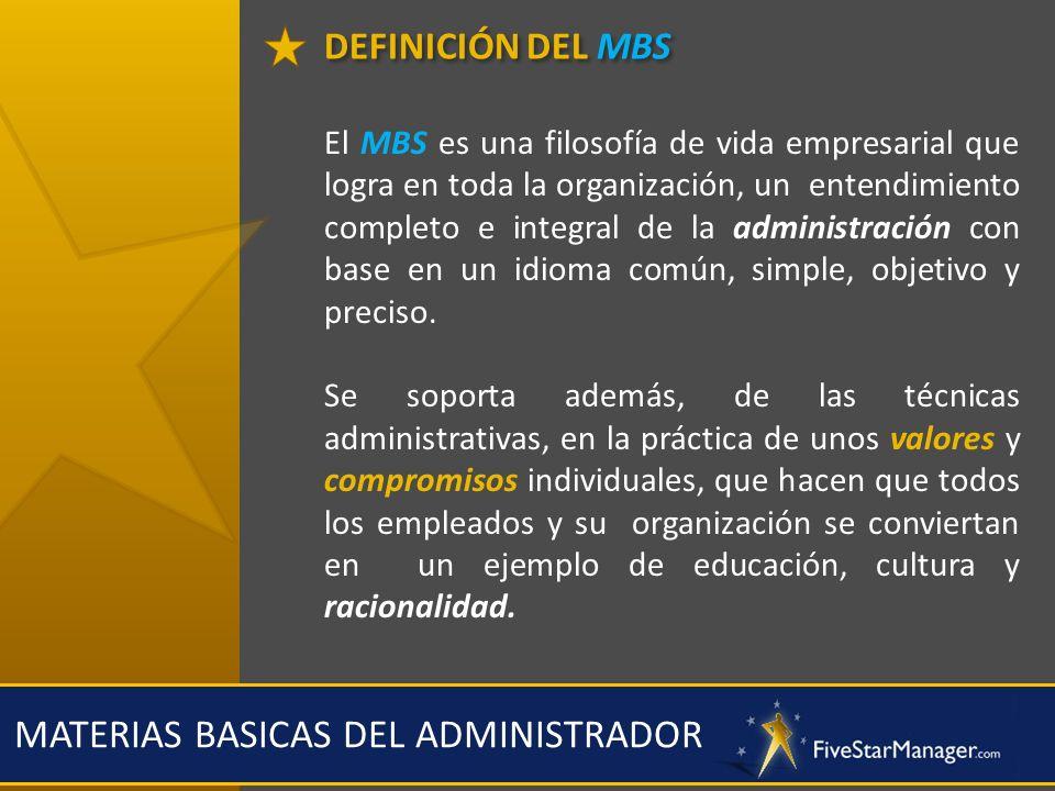 DEFINICIÓN DEL MBS MATERIAS BASICAS DEL ADMINISTRADOR El MBS es una filosofía de vida empresarial que logra en toda la organización, un entendimiento