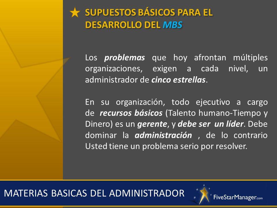 SUPUESTOS BÁSICOS PARA EL DESARROLLO DEL MBS MATERIAS BASICAS DEL ADMINISTRADOR Los problemas que hoy afrontan múltiples organizaciones, exigen a cada
