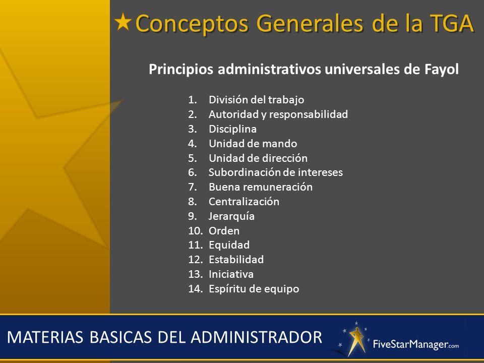 MATERIAS BASICAS DEL ADMINISTRADOR Principios administrativos universales de Fayol 1. División del trabajo 2. Autoridad y responsabilidad 3. Disciplin
