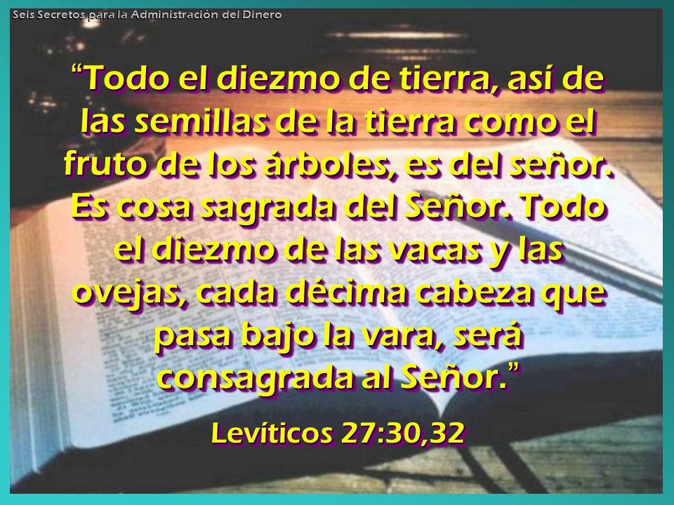 Todo el diezmo de tierra, así de las semillas de la tierra como el fruto de los árboles, es del señor. Es cosa sagrada del Señor. Todo el diezmo de la