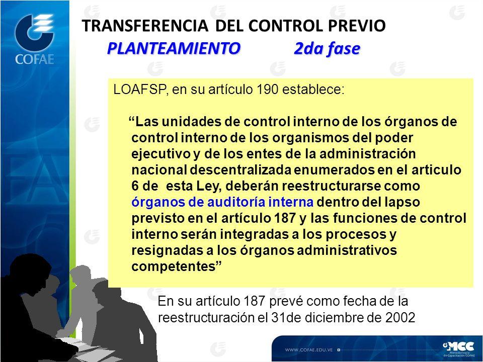 PLANTEAMIENTO 2da fase TRANSFERENCIA DEL CONTROL PREVIO PLANTEAMIENTO 2da fase LOAFSP, en su artículo 190 establece: Las unidades de control interno d