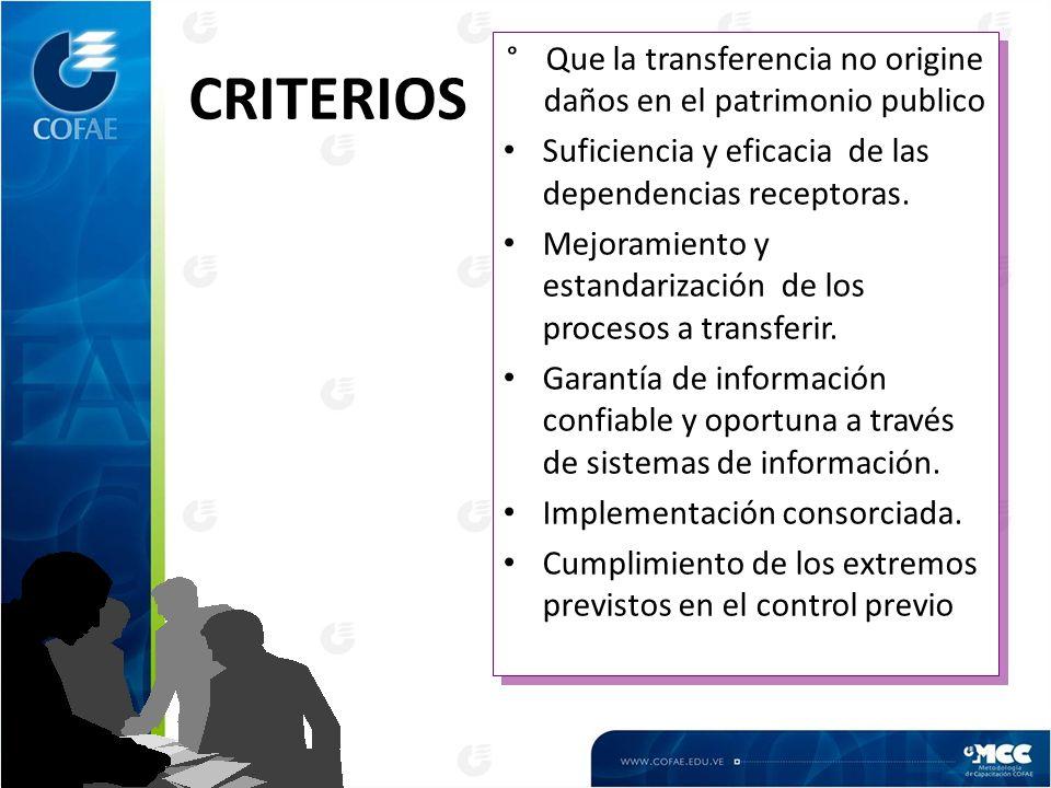 CRITERIOS °Que la transferencia no origine daños en el patrimonio publico Suficiencia y eficacia de las dependencias receptoras. Mejoramiento y estand