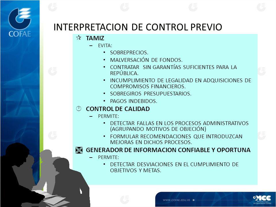INTERPRETACION DE CONTROL PREVIO ¶TAMIZ – EVITA: SOBREPRECIOS.