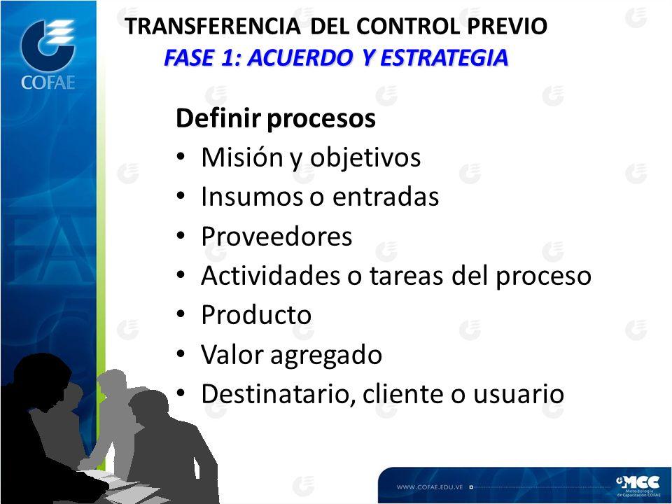 FASE 1: ACUERDO Y ESTRATEGIA TRANSFERENCIA DEL CONTROL PREVIO FASE 1: ACUERDO Y ESTRATEGIA Definir procesos Misión y objetivos Insumos o entradas Proveedores Actividades o tareas del proceso Producto Valor agregado Destinatario, cliente o usuario
