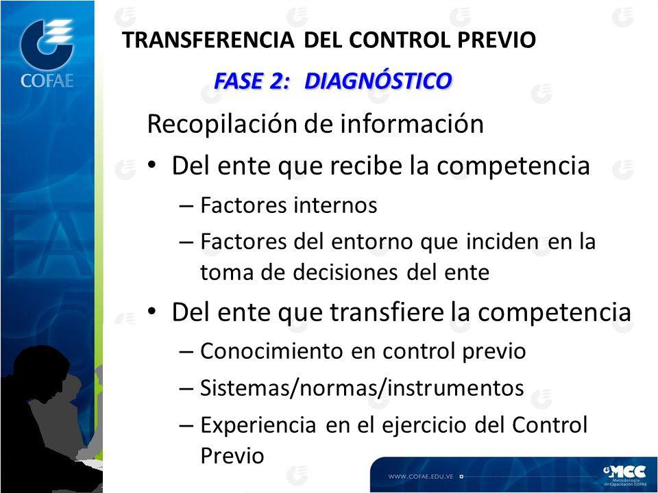 FASE 2:DIAGNÓSTICO TRANSFERENCIA DEL CONTROL PREVIO FASE 2:DIAGNÓSTICO Recopilación de información Del ente que recibe la competencia – Factores internos – Factores del entorno que inciden en la toma de decisiones del ente Del ente que transfiere la competencia – Conocimiento en control previo – Sistemas/normas/instrumentos – Experiencia en el ejercicio del Control Previo