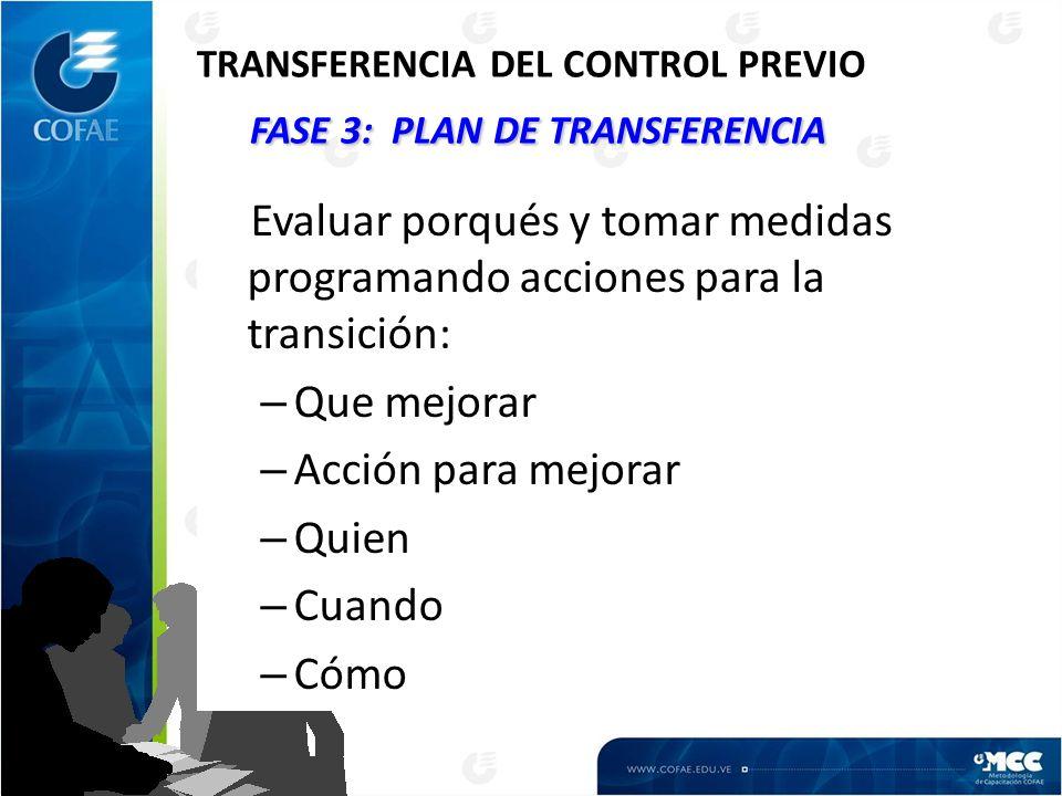 FASE 3: PLAN DE TRANSFERENCIA TRANSFERENCIA DEL CONTROL PREVIO FASE 3: PLAN DE TRANSFERENCIA Evaluar porqués y tomar medidas programando acciones para