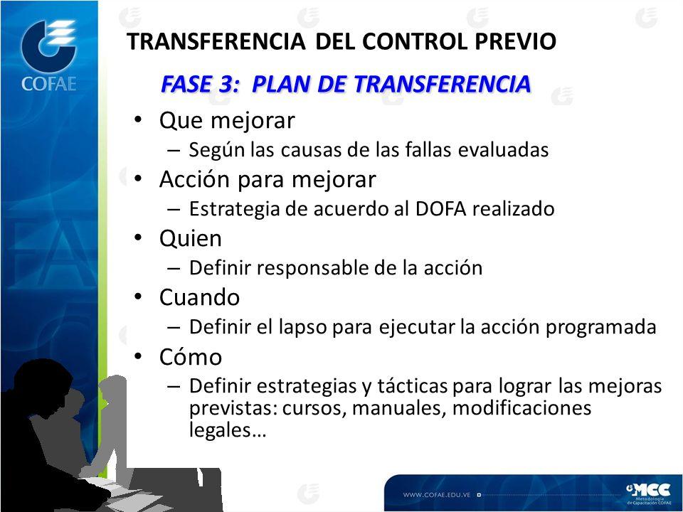 FASE 3: PLAN DE TRANSFERENCIA TRANSFERENCIA DEL CONTROL PREVIO FASE 3: PLAN DE TRANSFERENCIA Que mejorar – Según las causas de las fallas evaluadas Ac