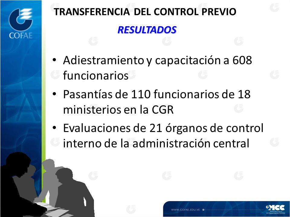 RESULTADOS TRANSFERENCIA DEL CONTROL PREVIO RESULTADOS Adiestramiento y capacitación a 608 funcionarios Pasantías de 110 funcionarios de 18 ministerios en la CGR Evaluaciones de 21 órganos de control interno de la administración central