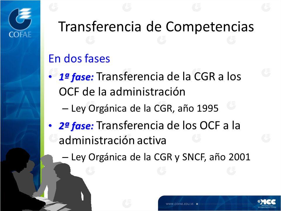 Transferencia de Competencias En dos fases 1ª fase: 1ª fase: Transferencia de la CGR a los OCF de la administración – Ley Orgánica de la CGR, año 1995 2ª fase: 2ª fase: Transferencia de los OCF a la administración activa – Ley Orgánica de la CGR y SNCF, año 2001