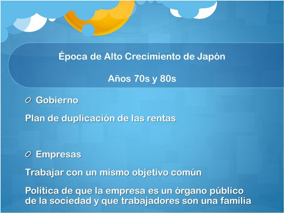 Gobierno Plan de duplicación de las rentas Empresas Trabajar con un mismo objetivo común Política de que la empresa es un órgano público de la sociedad y que trabajadores son una familia Época de Alto Crecimiento de Japón Años 70s y 80s