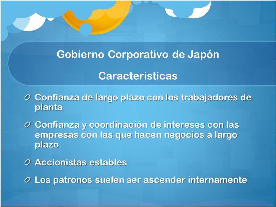 Confianza de largo plazo con los trabajadores de planta Confianza y coordinación de intereses con las empresas con las que hacen negocios a largo plazo Accionistas estables Los patronos suelen ser ascender internamente Gobierno Corporativo de Japón Características