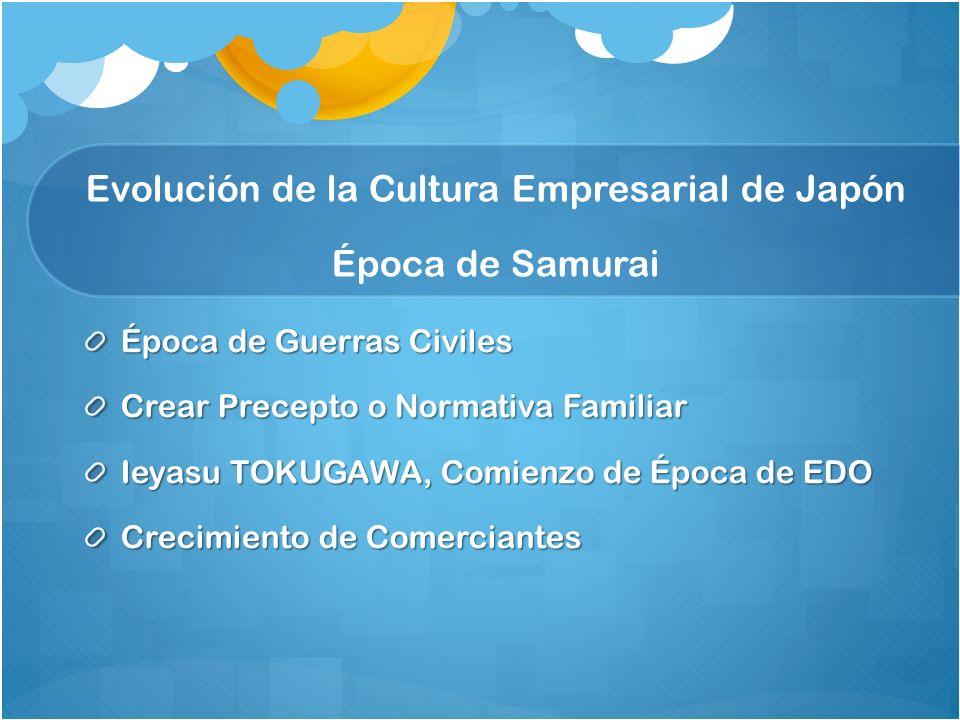 Evolución de la Cultura Empresarial de Japón Época de Samurai Época de Guerras Civiles Crear Precepto o Normativa Familiar Ieyasu TOKUGAWA, Comienzo de Época de EDO Crecimiento de Comerciantes